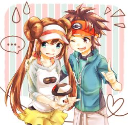 ... 1boy 1girl black_legwear blue_eyes blush brown_eyes brown_hair double_bun foongus hand_on_another's_shoulder heart heart_of_string highres jacket jewelry kyouhei_(pokemon) long_hair looking_away mei_(pokemon) minku_(pixiv) necklace open_mouth pantyhose pokemon pokemon_special raglan_sleeves short_hair shorts striped striped_background sweatdrop twintails very_long_hair visor_cap