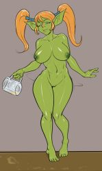 1girl alcohol artist_request beer beer_mug blue_eyes breasts drunk female full_body goblin green_skin huge_breasts midriff navel nipples nude orange_hair pussy shiny shiny_hair shiny_skin solo standing toned twintails uncensored warcraft world_of_warcraft