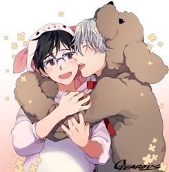 2boys :d animal_costume artist_name black_hair blue-framed_eyewear blush brown_eyes dog_costume eyes_closed face_licking flower gearous glasses hug katsuki_yuuri licking male_focus multiple_boys open_mouth pig_costume silver_hair smile tongue tongue_out viktor_nikiforov yaoi yuri!!!_on_ice