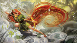 1girl absurdly_long_hair arrow artemis_(mythology) bow_(weapon) braid brown_gloves closed_mouth commentary drawing_bow dress flower from_side full_body gloves glowing glowing_eyes greek_mythology green_dress green_eyes hair_flower hair_ornament highres holding julia_blattman leaf long_hair open_mouth orange_hair outstretched_leg partly_fingerless_gloves plant realistic rock smile solo spirit very_long_hair weapon yellow_eyes