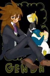 1boy banana_peel bird black_background black_gloves brown_hair cake character_name eating fang food formal genda_koujirou glass gloves inazuma_eleven inazuma_eleven_(series) l_hakase long_hair male necktie penguin sitting solo suit