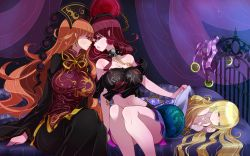 3girls :o age_difference arm_support bare_legs bare_shoulders bed black_dress black_shirt blonde_hair breasts chains china_dress chinese_clothes clothed_female_nude_female clownpiece collarbone couple curtains dress earrings eye_contact eyes_closed female hair_between_eyes half-closed_eyes hat hat_removed hecatia_lapislazuli highres incipient_kiss jewelry junko_(touhou) large_breasts legs long_hair long_sleeves looking_at_another lying midriff multiple_girls mutual_yuri neck night night_sky nude off-shoulder_shirt on_bed on_stomach open_mouth orange_hair orb raptor7 red_eyes red_hair shirt side-by-side sitting skirt skull sky sleeping small_breasts sphere spiked_collar spikes star_(sky) starry_sky touhou under_covers very_long_hair wide_sleeves yuri