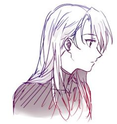1girl blue earrings eyebrows_visible_through_hair fullmetal_alchemist jewelry long_hair looking_away lowres monochrome pink purple riru riza_hawkeye simple_background sketch solo_focus white white_background