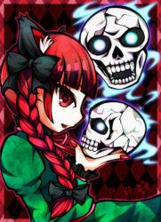 1girl animal_ears braid dress green_dress kaenbyou_rin mirin nail open_mouth red_eyes red_hair skull touhou twin_braids