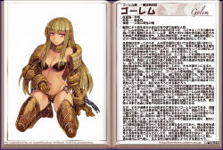 1girl bare_shoulders blush book breasts brown_hair chains character_name character_profile collar golem_(monster_girl_encyclopedia) headset kenkou_cross kneeling long_hair looking_at_viewer monster_girl monster_girl_encyclopedia monster_girl_profile navel open_book red_eyes runes solo watermark web_address
