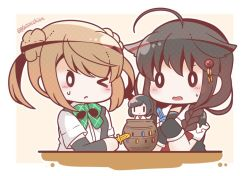 0_0 2girls ahoge arm_warmers black_gloves black_serafuku bloom2425 braid brown_hair commentary_request double_bun gloves hair_ornament hair_over_shoulder hair_ribbon kantai_collection long_hair michishio_(kantai_collection) multiple_girls one_eye_closed red_ribbon remodel_(kantai_collection) ribbon school_uniform serafuku shigure_(kantai_collection) short_hair short_sleeves single_braid translation_request tress_ribbon twitter_username wavy_mouth