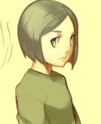 1boy bangs bob_cut fate/zero fate_(series) green_eyes green_hair nami_(tobuyo) solo swept_bangs t-shirt waver_velvet