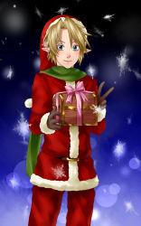 1boy blush gift gloves hat highres link nintendo santa_costume santa_hat short_hair smile solo the_legend_of_zelda twilight_princess wasabi_(legemd)