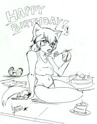 ! 1girl animal_ears birthday_cake cake claws dog_ears dog_tail dumbbell eating food fur furry happy_birthday highres kobold monochrome monster_musume_no_iru_nichijou navel nayaase_beleguii open_mouth panties polt shadow shorts_removed signature sitting sketch solo speech_bubble spoken_exclamation_mark spoon tail tank_top traditional_media underwear underwear_only