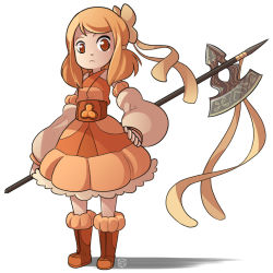 1girl axe boots detached_sleeves dress frown full_body hair_ribbon hand_on_hip mary_cagle orange_boots orange_dress orange_eyes orange_hair original puffy_detached_sleeves puffy_sleeves ribbon serious signature solo weapon