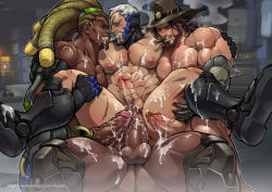4boys abs age_difference anal anus armor artist_name artist_request ass bara beard blue_eyes blush boots brown_hair cigar clenched_teeth cum cum_in_ass cum_on_body cum_while_penetrated cumdrip dark_skin drooling erection facial facial_hair gloves green_eyes group_sex hat interracial large_penis leg_lift lifting lucio_(overwatch) male_focus mccree_(overwatch) multiple_boys muscle nipples nude orgy overwatch pecs penis pubic_hair reaper_(overwatch) red_eyes saliva sandwiched scar sec sex shoes silver_hair sitting sitting_on_person smile smoke soldier:_76_(overwatch) sweat teeth testicles text uncensored yaoi