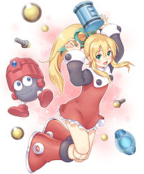 1girl android blonde_hair bolt boots eddie_(rockman) energy_tank green_eyes hair_ribbon highres joints knee_boots long_hair long_sleeves ponytail ribbon robot rockman rockman_(classic) roll skirt toshi wide_sleeves