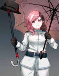 1girl belt bowler_hat brown_eyes brown_hair cane cowboy_shot gloves hat heterochromia highres long_hair multicolored_hair ndgd_(bean1215) neo_(rwby) pink_eyes pink_hair rwby solo spoilers umbrella uniform