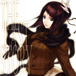 1girl aq_interactive black_hair blue_eyes breasts brown_hair copyright_name gloves hair_ornament jacket lowres manamia manamia_(the_last_story) mistwalker mmcxcircus nintendo scarf short_hair solo the_last_story