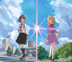 2girls ahoge bag belt blonde_hair blue_sky brown_eyes brown_hair building car city crosswalk dress_shirt ground_vehicle hair_ribbon kimi_no_na_wa loafers long_hair maribel_hearn motor_vehicle mountain multiple_girls necktie no_hat no_headwear parody purple_hair ribbon shiroshi_(denpa_eshidan) shirt shoes short_hair shoulder_bag skirt sky torii touhou usami_renko wristband yellow_eyes