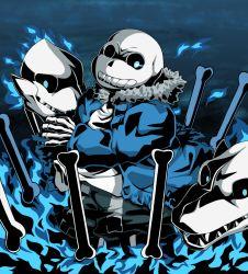 1boy blue_fire bone fire glowing glowing_eye highres hoodie looking_at_viewer nazimi00 open_mouth sans sharp_teeth skeleton skull torn_clothes undertale