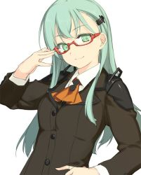 1girl adjusting_glasses aqua_hair bespectacled blazer female glasses green_eyes hand_on_hip highres jpeg_artifacts kantai_collection long_hair long_sleeves looking_at_viewer rokuwata_tomoe school_uniform simple_background smile solo suit suzuya_(kantai_collection) upper_body white_background