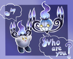chandelure crossover fire ghost kirby kirby_(series) musical_note nintendo open_mouth pokemon pokemon_(game) pokemon_bw smile yellow_eyes