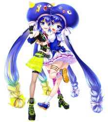 2girls :d \m/ artist_request blonde_hair blue_eyes blue_hair blush boots bow bracelet bracer dress dual_persona facial_mark fang fingerless_gloves frilled_dress frilled_skirt frills full_body gloves hair_bow hair_ornament highres hug jacket jewelry long_hair looking_at_viewer looking_back mismatched_legwear multicolored_hair multiple_girls musical_note musical_note_print necktie official_art one_eye_closed one_leg_raised open_mouth otomachi_una print_legwear red_necktie sailor_collar short_sleeves shoulder_cutout skirt smile socks thighhighs transparent_background twintails very_long_hair vocaloid