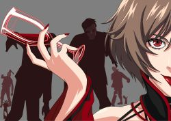 1girl akujiki_musume_conchita_(vocaloid) alcohol blood brown_hair cel_shading choker close-up cup detached_sleeves dress drinking_glass evillious_nendaiki eyelashes grey_background highres holding_glass lipstick looking_at_viewer makeup meiko nail_polish necromancer out_of_frame red_dress red_eyes red_lips red_nails short_hair simple_background smile solo_focus staring tokudaiji undead vector_art vocaloid wine wine_glass zombie