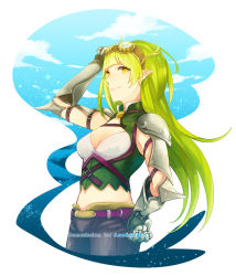 1girl adjusting_goggles belt borrowed_character breasts cleavage cloud cowboy_shot gauntlets goggles goggles_on_head green_hair hand_on_hip long_hair medium_breasts midriff navel original pointy_ears ravee_of_titans rynn_(acerailgun) smile solo spaulders standing yellow_eyes