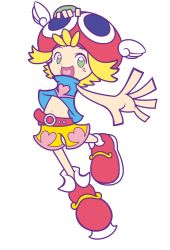 1girl amitie amitie_(puyopuyo) blonde_hair bracelet green_eyes navel official_style open_mouth puyopuyo puyopuyo_fever red_hat short_hair shorts smile wings