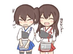2girls akagi_(kantai_collection) armor brown_hair eyes_closed jakoo21 kaga_(kantai_collection) kantai_collection long_hair multiple_girls open_mouth short_hair side_ponytail skirt smile tears thighhighs translation_request