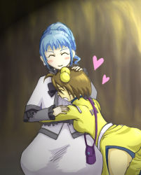 2girls ahoge ange_serena ass blue_hair blush breasts brown_hair capelet dress eyes_closed frills hair_ornament heart hug multiple_girls norma_beatty open_mouth ponytail ribbon short_hair smile tales_of_(series) tales_of_innocence tales_of_legendia