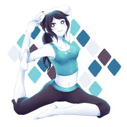1girl barefoot blush feet flexible grey_hair looking_at_viewer midriff navel nintendo pale_skin smile solo stomach stretch tank_top tejennn wii_fit wii_fit_trainer yoga
