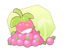 bounsweet food fruit leaf no_humans open_mouth pokemon pokemon_(creature) pokemon_(game) pokemon_sm putto simple_background solo transparent_background tree yellow_eyes