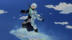 1boy armor blue_eyes blue_hair boku_no_hero_academia boots braid gloves ice long_hair pants style_parody tales_of_(series) tales_of_rebirth veigue_lungberg