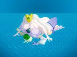 bigdad biolotusmon breasts digimon female femdom hetero highres large_breasts lotusmon nipples purple_skin sakuyamon smother white_hair