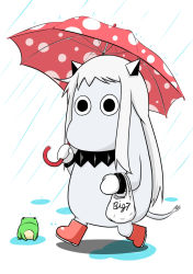 (o)_(o) bag boots commentary commentary_request frog horns kantai_collection long_hair mittens moomin moomintroll northern_ocean_hime northern_ocean_hime_(cosplay) plastic_bag rain sazanami_konami shinkaisei-kan simple_background tail umbrella