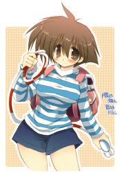 1girl backpack bag blush breasts brown_eyes brown_hair grappling_hook randoseru sakaki_(noi-gren) shorts smile solo striped umihara_kawase umihara_kawase_(character)