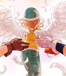 1girl 2boys angel_wings brown_gloves brown_hair denim digimon digimon_adventure feathers from_behind gloves ishida_yamato jeans konagonana mizutani_yuuko multiple_boys pants short_hair takenouchi_sora white_gloves wings yagami_taichi