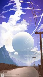 blue_sky building cloud erica_june_lahaie highres leaf motion_blur mountain no_humans original road scenery science_fiction signature sky telephone_pole watermark web_address