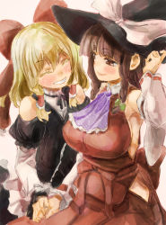 2girls ^_^ alternate_hairstyle ass bangs bare_shoulders blonde_hair blunt_bangs bow braid breasts brown_eyes brown_hair colored_eyelashes detached_collar eyes_closed grin hair_bow hair_tubes hairstyle_switch hakurei_reimu hand_holding hat headwear_switch kirisame_marisa large_breasts multiple_girls open_mouth smile touhou twin_braids witch_hat yohane