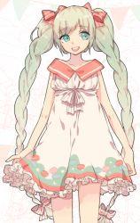 1girl dress green_eyes green_hair hatsune_miku he_ji_(ryou) long_hair open_mouth solo twintails very_long_hair vocaloid