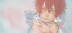 1boy blush child close-up daisy eyelashes fairy fairy_wings flower green_eyes lips looking_away male_focus original red_hair renos scratch shirtless simple_background solo spiked_hair upper_body wings younger