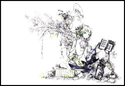 1girl alternate_costume black_boots boots female flower frame gramophone green_eyes green_hair gumi instrument leaf matching_hair/eyes monochrome plant shirohiko shirt shorts solo spot_color triangle_(instrument) violin vocaloid white_background white_shirt white_skin xylophone
