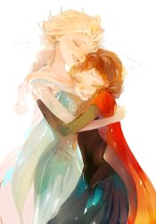 2girls anna_(frozen) blonde_hair elsa_(frozen) english eyes_closed frozen_(disney) happy highres hug multiple_girls panbukin red_hair siblings sisters smile tears