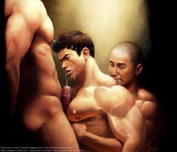 3boys bara blush cum ejaculation erection facial groping male_focus msucle multiple_boys nipples orgasm pecs penis yaoi