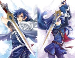 1boy 1girl blue_eyes blue_hair father_and_daughter fire_emblem fire_emblem:_kakusei krom long_hair lucina nintendo sword