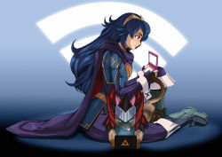 1girl armor blue_hair boots capcom cape cat cat_tail crossover felyne fingerless_gloves fire_emblem fire_emblem:_kakusei long_hair lucina monster_hunter nintendo nintendo_3ds sitting sitting_on_lap tiara tongue tovio_rogers