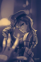 1girl alonsword earrings fingerless_gloves gloves goggles goggles_on_head hat hat_tip jewelry league_of_legends looking_at_viewer machinery monochrome solo_focus vi_(league_of_legends)