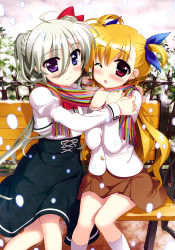 2girls absurdres black_skirt blonde_hair blue_eyes blue_ribbon brown_skirt einhart_stratos eyebrows eyebrows_visible_through_hair fujima_takuya hair_between_eyes hair_ribbon heterochromia highres long_hair lyrical_nanoha mahou_shoujo_lyrical_nanoha mahou_shoujo_lyrical_nanoha_vivid multiple_girls official_art one_eye_closed outdoors pleated_skirt purple_eyes red_eyes ribbon scarf shared_scarf sitting skirt smile snow striped striped_scarf very_long_hair vivio white_legwear yuri