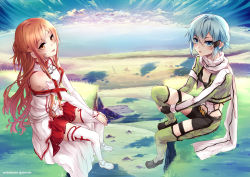 2girls asuna_(sao) blue_eyes blue_hair breastplate brown_eyes brown_hair cloud fingerless_gloves gloves horizon long_hair multiple_girls scarf shinon_(sao) short_hair shorts sitting sword_art_online ten-chan_(eternal_s) thighhighs