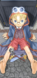 00s 1boy 2004 artist_name barefoot blonde_hair blue_eyes child cloak dagger dated feet glasses goblet hada_toshiya halo looking_at_viewer male_focus original outdoors short_hair shorts sitting solo toes weapon