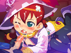 1boy 1girl brother_and_sister censored cum cum_in_mouth cum_on_tongue fellatio green_eyes incest loli nipples om_(nk2007) penis red_hair saru_getchu sayaka_(saru_getchu)
