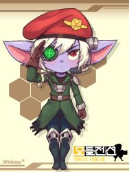 blue_skin blush boots eyepatch full_body gloves hat league_of_legends looking_at_viewer nestkeeper pants pointy_ears red_eyes salute scar soldier trench_coat tristana uniform white_hair yordle